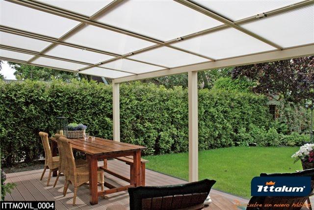 Foto porche cerrado apertura manual aluminios sanz - Porches de aluminio y cristal ...